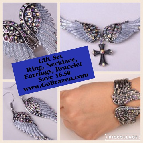 Four Piece Set Angel Wing Ring, Necklace, Earrings, Bracelet